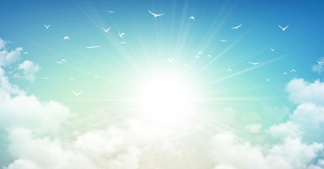 Picture of a sky, with clouds and birds.